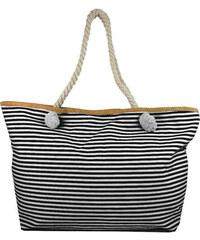 c45d36fac3 NEW BERRY Velká černo-bílá pruhovaná lehká plážová taška přes rameno H-106-