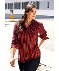 Košilová halenka, také pro plnoštíhlé, SHEEGO 48/50 červeno-černá