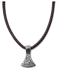 30faf2a50 Fort Tempus Hnedý kožený náhrdelník s príveskom s magickým znakom