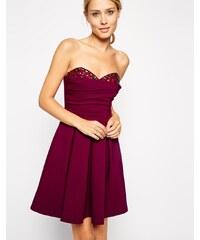 ASOS - Peekaboo - Trägerloses Kleid mit Verzierung - Rosa