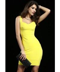 Žluté bandage šaty s holými zády Yvet