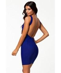 Moderní modré šaty s holými zády Michel