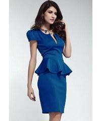 Modré krátké šaty peplum s výstřihem a krátkými rukávy Joi