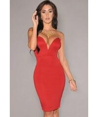 Provokativní sexy červené šaty s velkým výstřihem