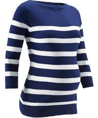 bpc bonprix collection Gestreifter Umstandspullover 3/4 Arm in blau für Damen von bonprix