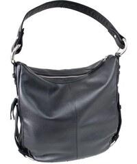 černá kožená zipová kabelka s bočními zipovými kapsami