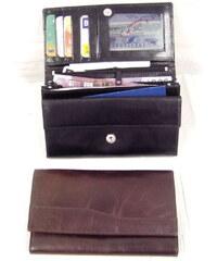 Arwel černá dámská psaníčková kožená peněženka s klopnou