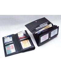 Arwel černá dámská kožená psaníčková peněženka s klopnou a zápinkou