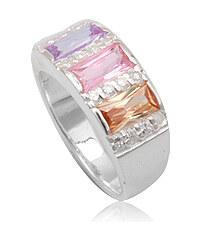 925e Stříbrný prstýnek s barevnými zirkony