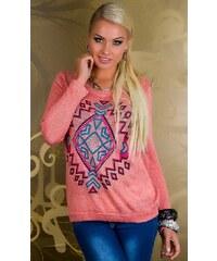 New Fashion Růžový svetr s ornamenty