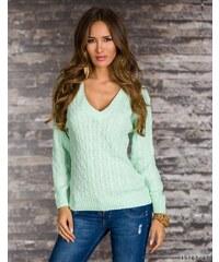 G&Y Fashion Světlounce zelený svetr