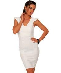 Figa, Anglie Bílé pouzdrové šaty se stříbrnou nitkou