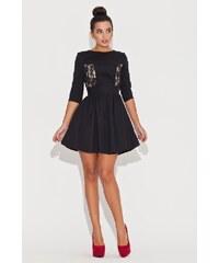 Společenské šaty s krajkou Katrus K068 černé