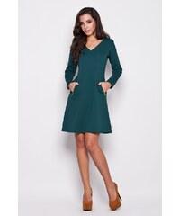 Elegantní dámské šaty Katrus K078 zelené