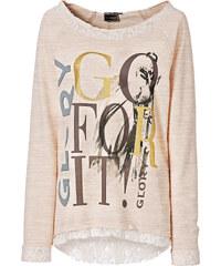 RAINBOW Sweatshirt mit Spitze langarm in beige für Damen von bonprix