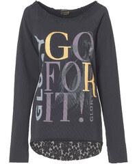 RAINBOW Sweatshirt mit Spitze langarm in grau für Damen von bonprix