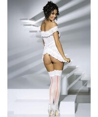 Punčochy Obsessive Heartdrops stockings Bílá
