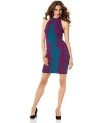Přiléhavé úzké šaty, šaty Laura Scott s potiskem 44 petrolejová