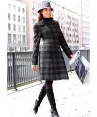 Vlněný kostkovaný dámský kabát, Vivance Collection (vel.34 skladem) 34 šedá Dopravné zdarma!