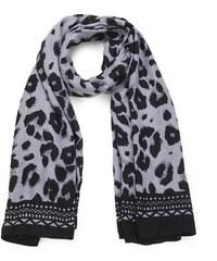 Intrigue Šátek na krk s tygřím vzorem černá