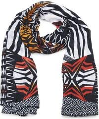Šátek na krk s indiánským vzorem, INTRIGUE (1 ks skladem) černo-bílá Dopravné zdarma!
