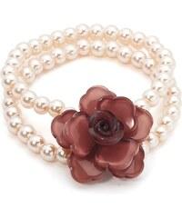 Náramek z korálků s akrylovou květinou, INTRIGUE rosa