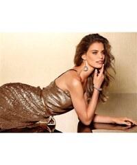 Třpytivé šaty s flitry, pajetkové šaty, flitrové šaty Laura Scott Evening 34 měděná