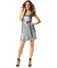 Třpytivé šaty s flitry, pajetkové šaty, flitrové šaty Laura Scott Evening 34 stříbrná