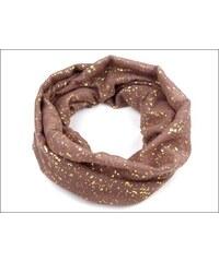 Kruhový hnědý šátek se zlatým potiskem