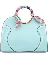 Mentolová kabelka s barevným šátkem LYDC