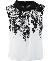 Černo-bílý top s květinami Closet