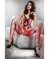 Bodystocking Livco Corsetti Woman leopard, červená