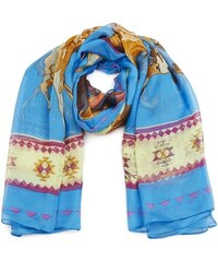 Čtvercový šátek s motivy koně, INTRIGUE modrá