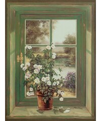 Bild, Kunstdruck, Home affaire, »A. Heins: Wildrosen am Fenster«, 57/79 cm