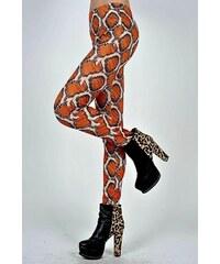 LM moda Dámské legíny, leggins hadí hůže oranžové 40-84