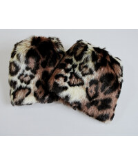 LM moda Chlupaté návleky na boty leopard