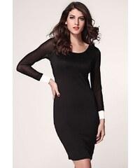 LM moda Luxusní šaty s nevšedními zády bílo černé 22-2