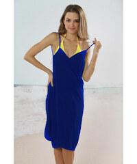 LM moda Plážové zavinovací šaty jednobarevné tmavě modré