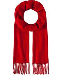 LM moda Luxusní šála unisex červená s třásněmi
