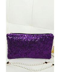 LM moda Společenská kabelka, psaníčko s flitry fialové