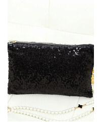 LM moda Společenská kabelka, psaníčko s flitry černé