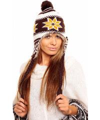 Sublevel dámská čepice s kožíškem a norskými vzory