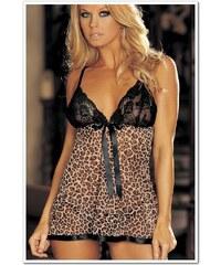 LM moda Jemná košilka hnědá leopard L601