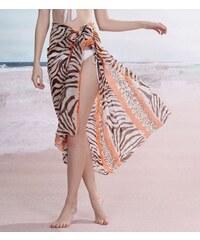 LM moda Sarong šátek na pláž 115 krémový oranžový zebra
