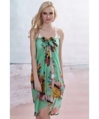 LM moda Sarong šátek na pláž 111 zelený s květy
