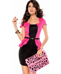 Koktejlové šaty barvy černé a růžové
