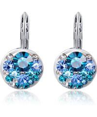 LM moda Elegantní dámské naušnice s modrými kamínky