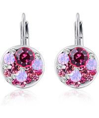 LM moda Elegantní dámské naušnice s růžovými kamínky