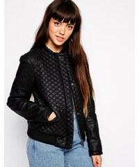 ASOS Leather Look Bomber Jacket in Quilt - Schwarz