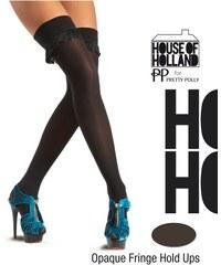 HENRY HOLLAND Černé samodržící punčochy s třásněmi